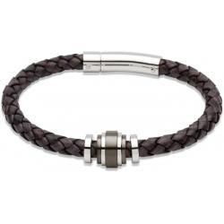 UNIQUE Antique black plaited leather bracelet with steel