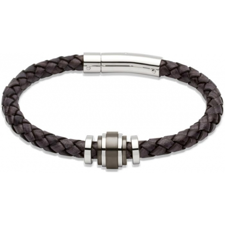 UNIQUE Bracelet en cuir tressé noir antique avec acier