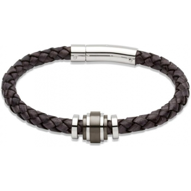 UNIQUE Antique black plaited leather bracelet with steel