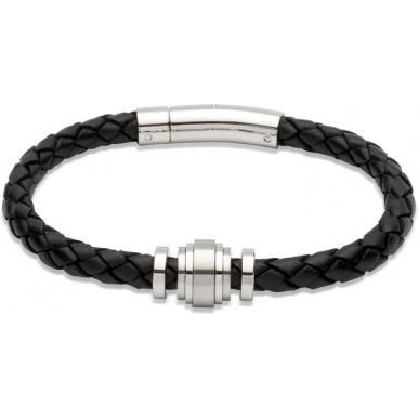 UNIQUE Black plaited leather bracelet with steel
