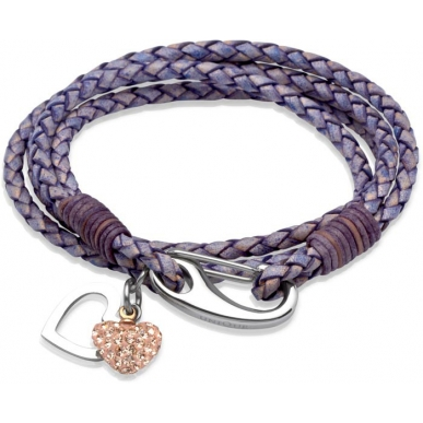 UNIQUE Antique violet plaited leather bracelet with steel