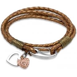 UNIQUE Bronze plaited leather bracelet with steel