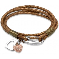 UNIQUE Bracelet en cuir tressé bronze avec acier