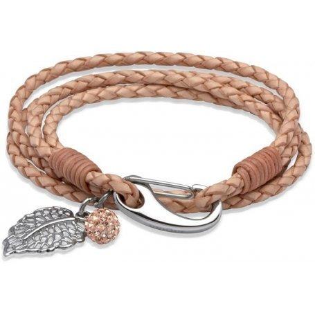 UNIQUE Bracelet en cuir tressé nature avec acier