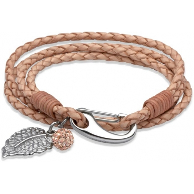 UNIQUE Natural plaited leather bracelet with steel