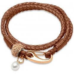 UNIQUE Bracelet en cuir tressé cuivre avec acier doré rose