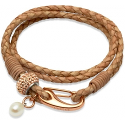 UNIQUE Natural plaited leather bracelet with rose gold plated steel