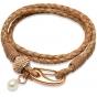 UNIQUE Bracelet en cuir tressé nature avec acier doré rose