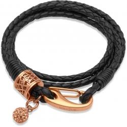 UNIQUE Bracelet en cuir tressé noir avec acier doré rose