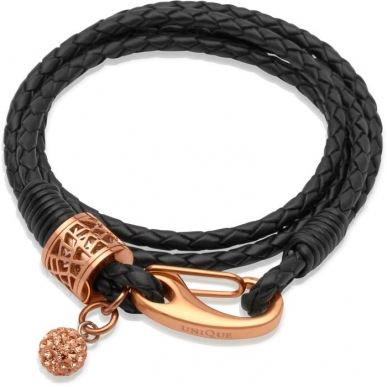 UNIQUE Black plaited leather bracelet with rose gold platedsteel