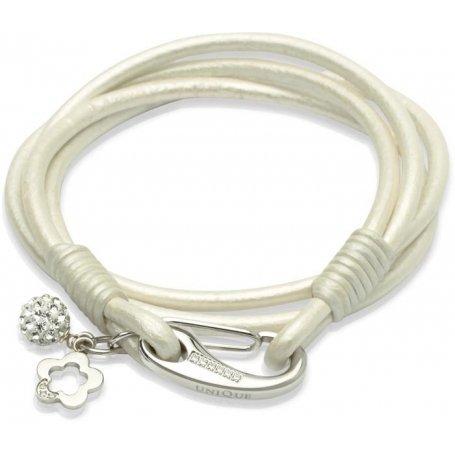 UNIQUE Bracelet en cuir lisse couleur nacre avec acier