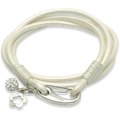 UNIQUE Pearl smoothed leather bracelet with steel