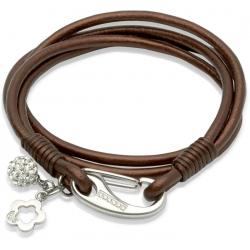 UNIQUE Bracelet en cuir lisse brun foncé avec acier