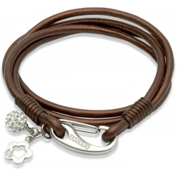UNIQUE Dark brown smoothed leather bracelet with steel
