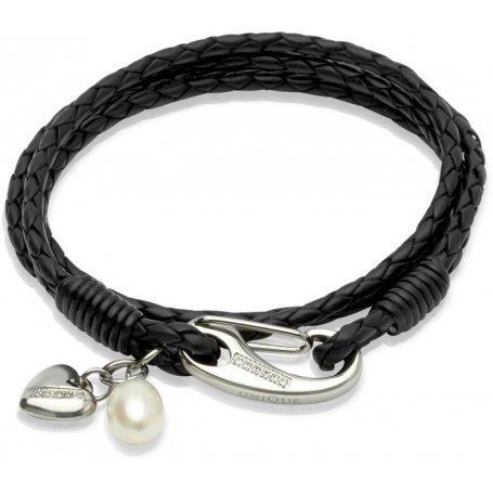 UNIQUE Bracelet en cuir tressé noir avec acier