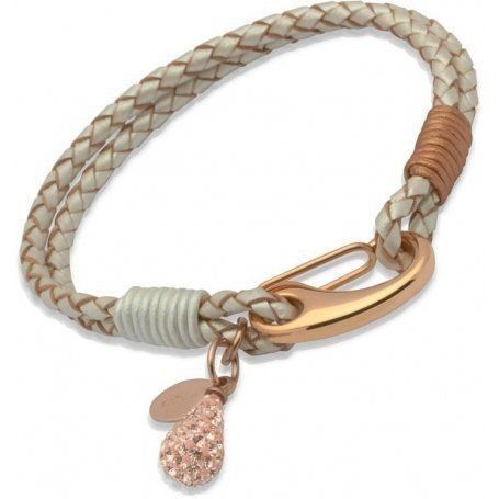 UNIQUE Pearl plaited leather bracelet with rose gold plated steel