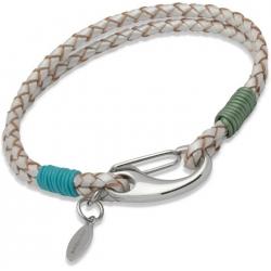 UNIQUE Bracelet en cuir tressé couleur nacre avec acier