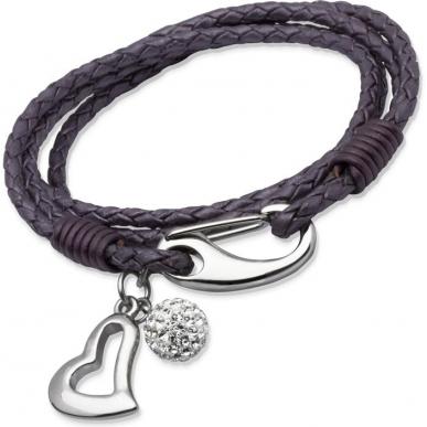 UNIQUE Bracelet en cuir tressé violet avec acier