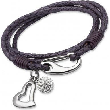 UNIQUE Violet plaited leather bracelet with steel