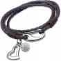 UNIQUE Violet plaited leather bracelet with steel
