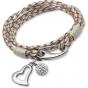 UNIQUE Bracelet en cuir tressé couleur nacre blanche avec acier