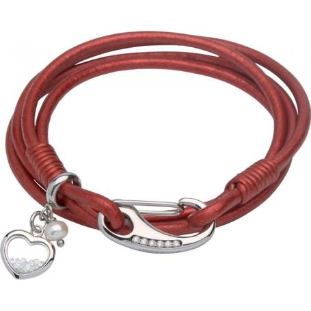 UNIQUE Bracelet en cuir lisse rouge avec acier