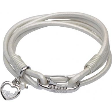 UNIQUE Bracelet en cuir lisse couleur nacre blanche avec acier