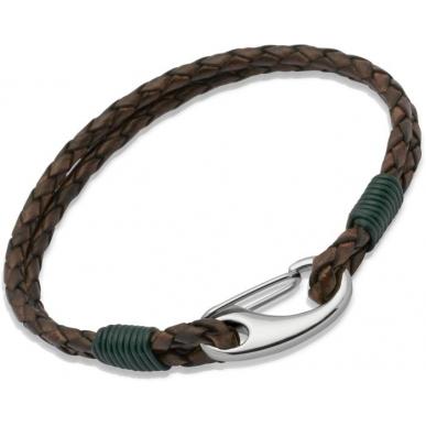 UNIQUE Bracelet en cuir tressé brun antique avec acier
