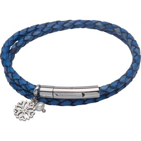 UNIQUE Bracelet en cuir tressé bleu avec acier