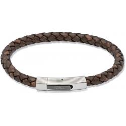 UNIQUE Antique dark brown plaited leather bracelet with steel