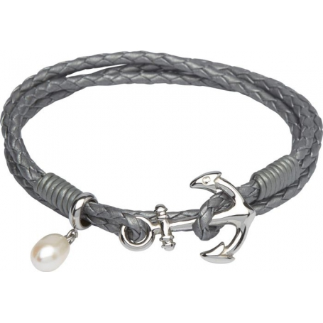 UNIQUE Bracelet en cuir tressé gris avec acier