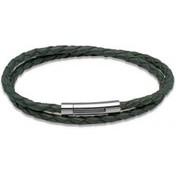 UNIQUE Bracelet en cuir tressé vert foncé avec acier