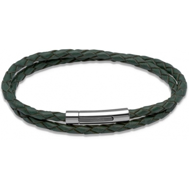 UNIQUE Dark green plaited leather bracelet with steel