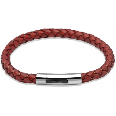 UNIQUE Antique red plaited leather bracelet with steel