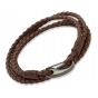UNIQUE Dark brown plaited leather bracelet with steel