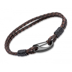 UNIQUE Antique dark brown plaited leather bracelet with steel