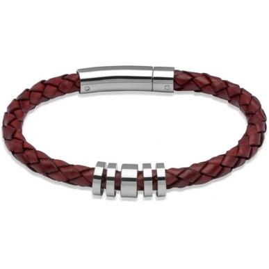 UNIQUE Antique red plaited leather bracelet with steel