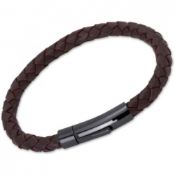UNIQUE Dark brown plaited leather bracelet with steel