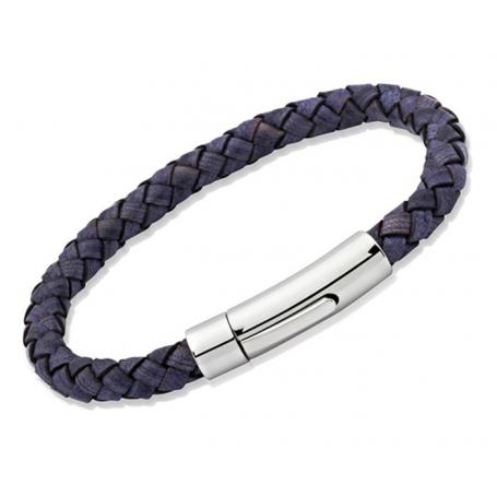 UNIQUE Bracelet en cuir tressé bleu antique avec acier