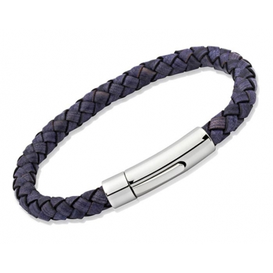 UNIQUE Antique blue plaited leather bracelet with steel