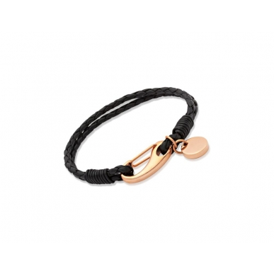 UNIQUE Black plaited leather bracelet with rose gold plated steel