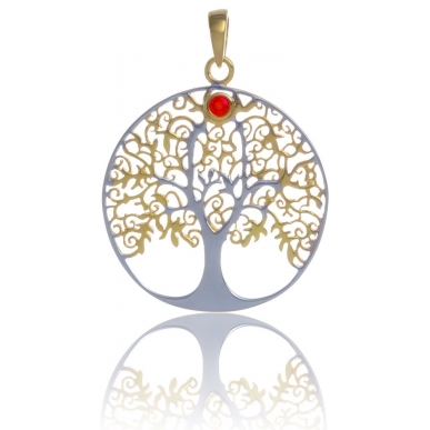 ANGELSVOICE Pendant 925 Tree of Life gold plated with red fire opal