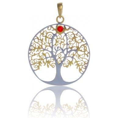 ANGELSVOICE Pendentif 925 arbre de vie doré jaune avec opale rouge