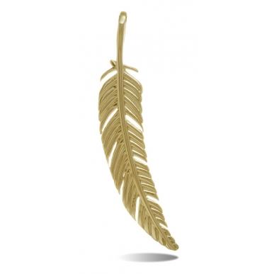 TRAUMFÄNGER Pendentif Plume en acier doré jaune