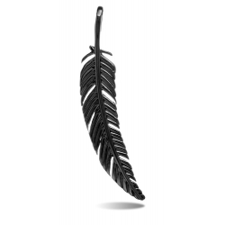 TRAUMFÄNGER Steel Pendant Black Feather
