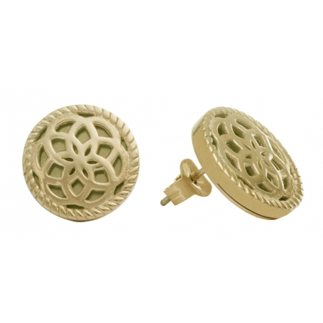 TRAUMFÄNGER Steel Earings yellow gold plated Dreamcatcher with floral motif