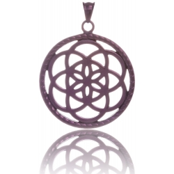 TRAUMFÄNGER Steel Pendant Brown Dreamcatcher with floral motif