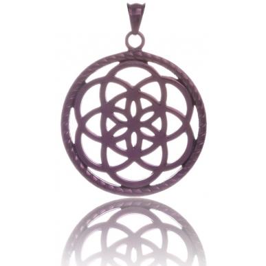 TRAUMFÄNGER Pendentif Attrape-rêves en acier brun motif fleur