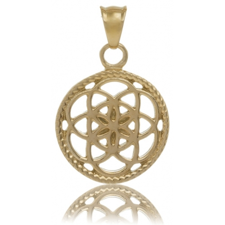 TRAUMFÄNGER Steel Pendant Yellow Gold Plated Dreamcatcher with floral motif