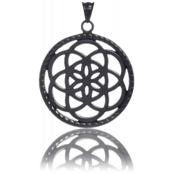TRAUMFÄNGER Steel Pendant Black Dreamcatcher with floral motif